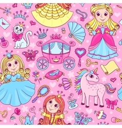 Seamless pattern with three cute little princesses vector