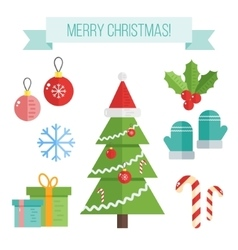 Set of christmas icons flat elements vector image