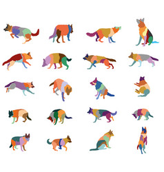 Set of colorful dogs vector