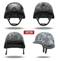 Set of Military tactical helmets pixel color vector