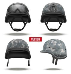 Set of military tactical helmets pixel color vector