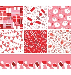 Set of seven sale and shopping seamless patterns vector image