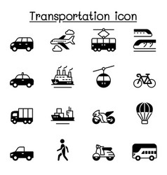 Set transportation related icons contains such vector