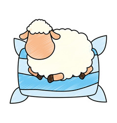 Sheep sleeping on pillow vector