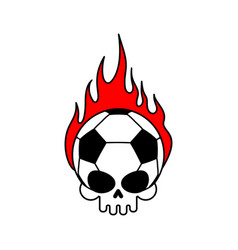 skull soccer ball and fire football skeleton head vector image