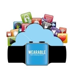 Smart watch wearable technology cloud virtual vector