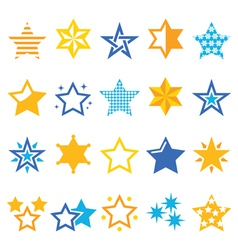 Stars gold and blue icons vector