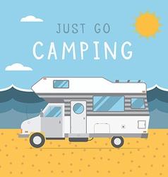 Summer Beach Caravan Trailer Camping Landscape vector