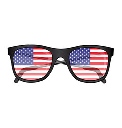 sunglasses with american flag reflection vector image
