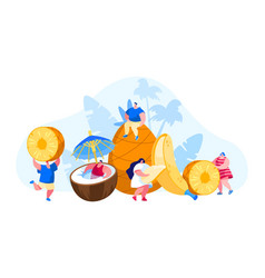 tiny men and women characters and huge ripe vector image