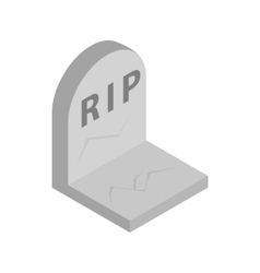 Tombstone with RIP isometric 3d icon vector