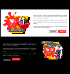 total sale 80 70 percent shopping tags with info vector image