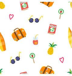 travel summer pattern with hand drawn pineapple vector image