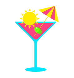 Tropical exotic summer refreshing cocktail vector