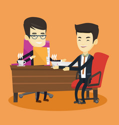 Two businessmen during business meeting vector
