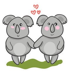 Two cartoon koalas in love with each other or vector