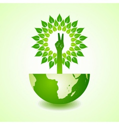 Victory hand make tree on earth vector