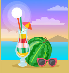 watermelon cocktail and sunglasses beach vector image