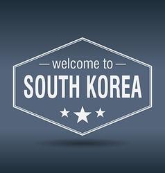 Welcome to South Korea hexagonal white vintage vector