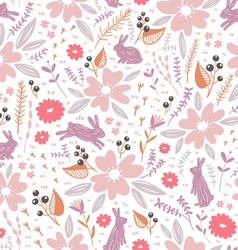 Flowers and bunnies seamless pattern vector image vector image