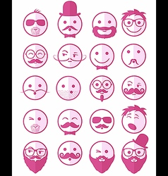 icon set 20 mans faces pink half vector image
