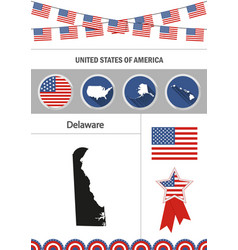 Map of delaware set of flat design icons vector