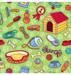Seamless pattern with accessories for dogs vector image