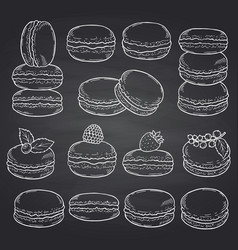 set of hand drawn macaroons on chalkboard vector image
