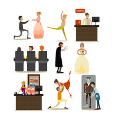 set of opera concept icons flat style vector image vector image