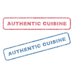 authentic cuisine textile stamps vector image vector image