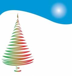 Christmas tree and hill vector image