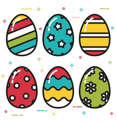 colorful easter eggs flat style vector image