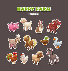 funny farm animals stickers set vector image vector image
