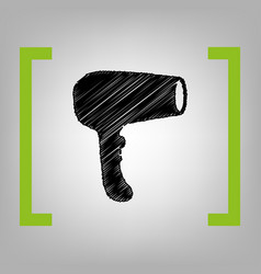 hair dryer sign black scribble icon in vector image
