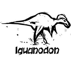 Woodcut Iguanodon Dinosaur vector image vector image