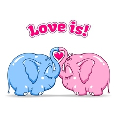 Baby elephant in love on white vector