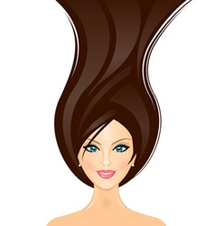 beautiful girl with brown hair vector image vector image