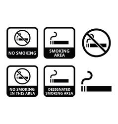 No smoking smoking area icons set vector image vector image