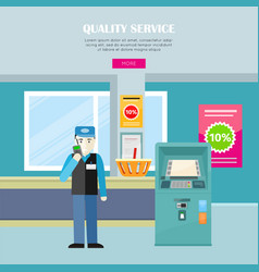 quality service in supermarket web banner vector image vector image