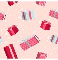 Seamless Christmas pattern with gift boxes vector image