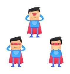 set of funny cartoon superhero vector image vector image