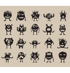 Set of monsters silhouettes vector image