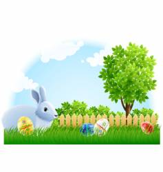 Easter rabbit and eggs vector image