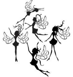 fairies silhouettes vector image