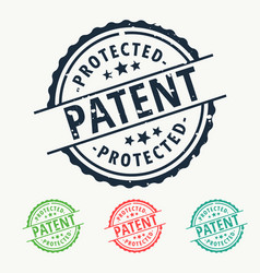 patent protected rubber stamp badge set vector image vector image