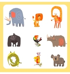 Safari animals and birds set vector