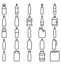 Set of plastic bottles and other containers vector image vector image