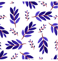 tropical watercolor leaves seamless pattern vector image vector image