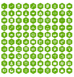 100 business process icons hexagon green vector