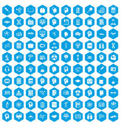 100 knowledge icons set blue vector